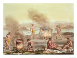 Indigenous Natives from Florida Preparing and Cooking Food Giclee Print by John White