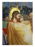 The Betrayal of Christ, Detail of the Kiss, circa 1305 Giclee Print by Giotto di Bondone