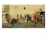 A Roman Street Scene with Musicians and a Performing Monkey Giclee Print by Modesto Faustini