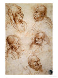 Five Studies of Grotesque Faces Giclee Print by Leonardo da Vinci