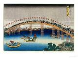 Procession over a Bridge Giclee Print by Katsushika Hokusai