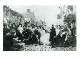 The Mobbing of John Wesley at Wednesbury Giclee Print by  English School