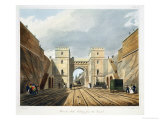 """Moorish Arch, Looking from the Tunnel, Plate 10 from """"Liverpool and Manchester Railway"""" Giclee Print by Thomas Talbot Bury"""