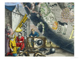 Astronomers Looking Through a Telescope, Detail from a Map of the Constellations Gicl&#233;e-Druck von Andreas Cellarius