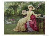 Drinking Coffee and Reading in the Garden Giclee Print by Edward Killingworth Johnson