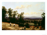 Haystacks Near a River, Near Harford, Warwickshire, 1872 Giclee Print by George II Turner