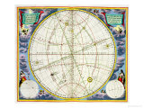 Map Charting the Movement of the Earth and Planets Premium Giclee Print by Andreas Cellarius