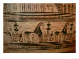 Funerary Scene, Detail from a Geometric Period Krater, 750-735 BC Giclee Print by  Hirschfeld Painter