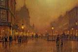 A Street at Night Gicledruk van John Atkinson Grimshaw