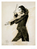 Niccolo Paganini Playing the Violin, 1831 Reproduction proc&#233;d&#233; gicl&#233;e par Edwin Henry Landseer