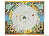Chart Describing the Movement of the Planets, from Celestial Atlas, or the Harmony of the Universe Reproduction procédé giclée par Andreas Cellarius