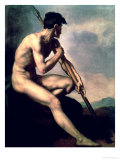 Nude Warrior with a Spear Giclee Print by Th&#233;odore G&#233;ricault
