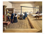 """Hospital at Scutari, Detail of Florence Nightingale on the Ward, from """"The Seat of War in the East"""" Giclee Print by William Simpson"""