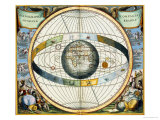 Map Showing Tycho Brahe's System of Planetary Orbits Around the Earth Giclee Print by Andreas Cellarius