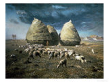 Haystacks, Autumn, 1873-74 Giclee Print by Jean-François Millet