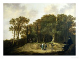 A Wooded Landscape with the Artist Sketching Giclee Print by Aelbert Cuyp