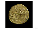 Aureus of Tiberius Depicting the Emperor in a Four-Horse Chariot Right Giclee Print