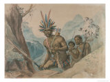 Chief of the Bororenos Preparing for an Attack Giclee Print by Jean Baptiste Debret