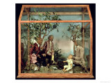 Wax Sculptures of Voltaire, Rousseau and Franklin in a Wooden and Glass Box Giclee Print by  Orsy Or Orsi