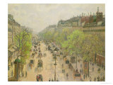 Boulevard Montmartre, Morning, Grey Day, 1897 Giclee Print by Camille Pissarro
