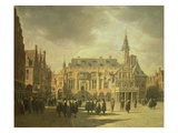 View of the Town Hall in the Market Square of Haarlem, 1671 Giclee Print by Gerrit Adriaensz Berckheyde