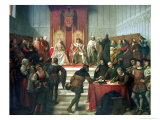Catholic Rulers Administering Justice, 1860 Giclee Print by Victor Manzano Y Mejorada