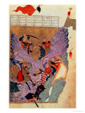 "Genghis Khan (circa 1162-1227) Fighting the Chinese in the Mountains, a Scene ""Shahanshahnama"" Giclee Print"