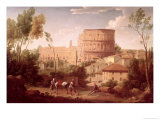 A View of the Colosseum with a Traveller, 1731 Giclee Print by Hendrik Van Lint
