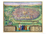 "Map of Jerusalem, from ""Civitates Orbis Terrarum"" by Georg Braun and Frans Hogenberg, circa 1572 Giclee Print by Joris Hoefnagel"