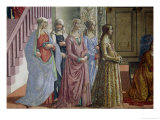 The Birth of the Virgin, Detail of the Women, 1490 Giclée-tryk af Domenico Ghirlandaio