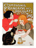 Reproduction of a Poster Advertising the French Company of Chocolate and Tea Wydruk giclee autor Théophile Alexandre Steinlen