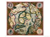 Septentrionalium Terrarum Descriptio, Karte von the Arctic, 1595 Giclée-Druck von Gerardus Mercator