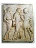 Hermes, Orpheus and Eurydice, Relief, Roman Copy of the Original from the 5th Century BC Reproduction procédé giclée