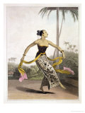 A Ronggeng or Dancing Girl, Plate 21 from Vol. I of &quot;The History of Java&quot; Giclee Print by Thomas &amp; William Daniell