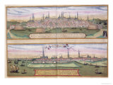 "Map of Lubeck and Hamburg, from ""Civitates Orbis Terrarum"" Giclee Print by Joris Hoefnagel"
