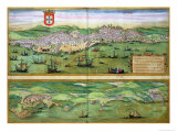 "Map of Lisbon, and Cascais, from ""Civitates Orbis Terrarum"" Premium Giclee Print by Joris Hoefnagel"
