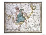 "Ophiuchus or Serpentarius, from ""A Celestial Atlas,"" Published in 1822 Giclee Print by A. Jamieson"