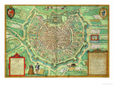 "Map of Milan, from ""Civitates Orbis Terrarum"" by Georg Braun and Frans Hogenburg, circa 1572 Giclee Print by Joris Hoefnagel"