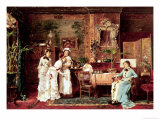 Visit to a New Mother, 1879 Giclee Print by Mihaly Munkacsy
