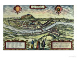 View of the City of Salzburg on the Banks of the River Salzach with Honensalzburg Castle Giclee Print