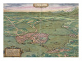 "Map of Mantua, from ""Civitates Orbis Terrarum"" by Georg Braun and Frans Hogenberg, 1575 Giclee Print by Joris Hoefnagel"