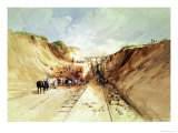 Construction of a Railway Line, 1841 Giclee Print by George Childes