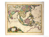 General Map Extending from India and Ceylon to Northwestern Australia by Way of Southern Japan Giclee Print by Nicholas Jansz Visscher