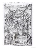Map of the Island of Utopia, Book Frontispiece Premium Giclee Print