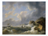Shipping off a Coastline in a Rough Sea Giclee Print by Petrus Johann Schotel