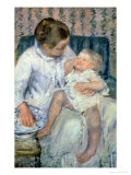 Mother About to Wash Her Sleepy Child, 1880 Giclee Print by Mary Cassatt