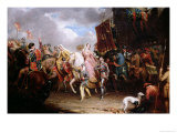Procession to the Roiall Justs Holden in Smithfield, London, A.D. 1370, circa 1829 Premium Giclee Print by Samuel Lover