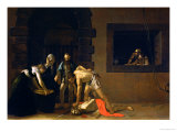 The Decapitation of St. John the Baptist, 1608 Giclée-tryk af Caravaggio