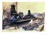 The Pits of St. Pierre & St. Paul at Le Creusot, 1866 Giclee Print by Ignace Francois Bonhomme