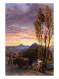 Oxen Ploughing at Sunset Giclee Print by Samuel Palmer